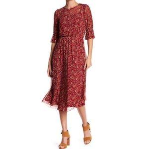 EVERLY Ruffle Sleeve Mesh Power Floral Midi Dress